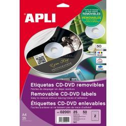 APLI 02001 презалепващи бели етикети за CD-DVD дискове