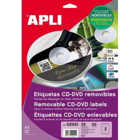 APLI 02001 презалепващи бели етикети за CD-DVD