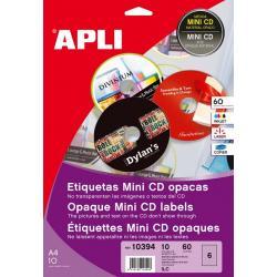 APLI 10394 плътни бели етикети за Mini CD дискове