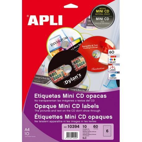 APLI 10394 плътни бели етикети за Mini CD