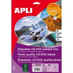 APLI 10603 бели гланцирани етикети за CD-DVD със фото качество