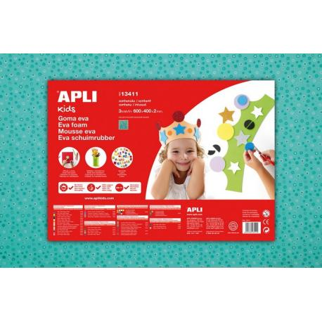 APLI Kids 13411 - EVA гума, тюркоаз, цветя - 1 лист 600x400 mm