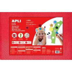 APLI Kids 13558 - EVA гума, червена с ефект на текстил с пайети - 1 лист 600x400 mm