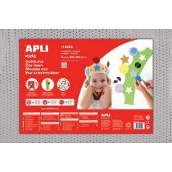 APLI Kids 13559 - EVA гума, бяла с ефект на текстил с пайети - 1 лист 600x400 mm