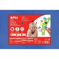 APLI Kids 13557 - EVA гума, синя с ефект на текстил с пайети - 1 лист 600x400 mm