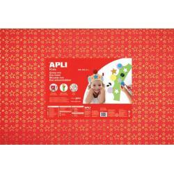 APLI Kids 13413 - Крафт EVA пяня, блестяща, червена със златни звезди - 1 лист 600x400 mm