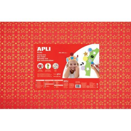 APLI Kids 13413 - EVA гума, блестяща, червена със златни звезди - 1 лист 600x400 mm