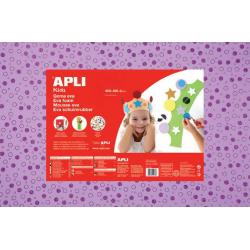 APLI Kids 13414 - EVA гума, блестяща, лилава с кръгове - 1 лист 600x400 mm