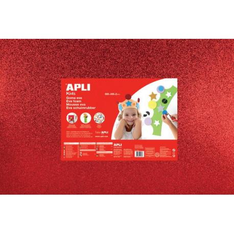 APLI Kids 13172 - EVA гума, блестяща, червена - 1 лист 600x400 mm
