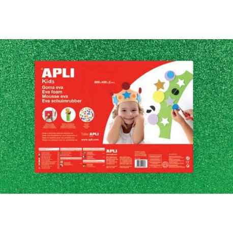 APLI Kids 13173 - EVA гума, блестяща, зелена - 1 лист 600x400 mm