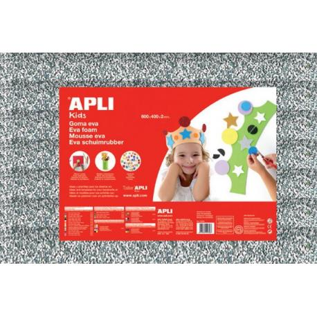 APLI Kids 13176 - EVA гума, блестяща, сребриста - 1 лист 600x400 mm