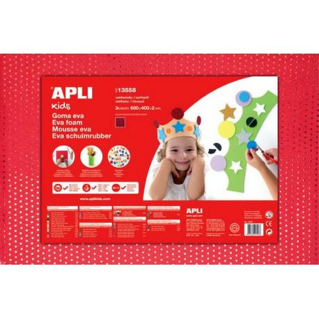 APLI Kids 13558 - EVA гума,Червена, ефект на текстил с паети - 1 лист 600x400 mm
