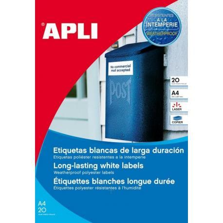 APLI 12113 Бели водоустойчиви полиестерни етикети за лазерни принтери и копирни машини