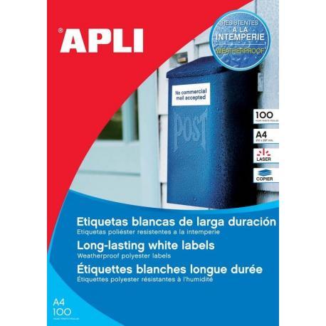 APLI 12121 Бели водоустойчиви полиестерни етикети за лазерни принтери и копирни машини