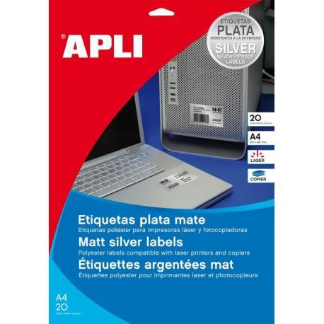 APLI 12975 Сребристи, метализирани, водоустойчиви, полиестерни етикети